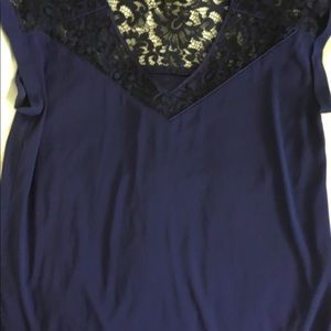 Large Express dark blue top, with black lace